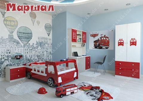 Детская мебель Маршал с пожарной кроватью-машиной