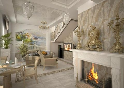 Дизайн гостиная-кухня с камином