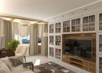 Дизайн: Гостиная-библиотека