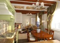 Дизайн: Гостиная-кухня с балками на потолке