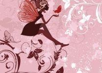 Фотообои Фея-бабочка на розовом фоне