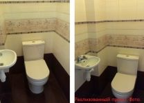 Ремонт в туалете со светлой плиткой