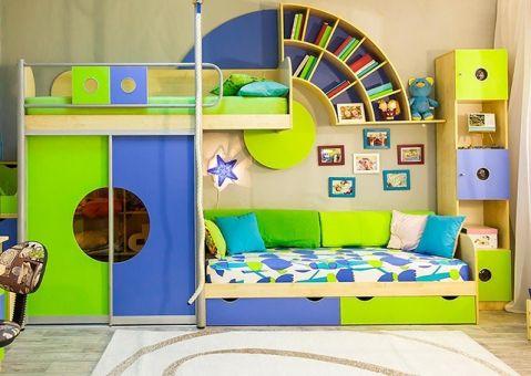 Детский стеллаж со шкафчиками Выше радуги