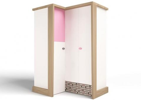 Шкаф угловой гармошка MIX ABC-King розовый и голубой