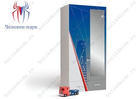 Двухдверный шкаф с зеркалом Человек-паук (Spider Man)