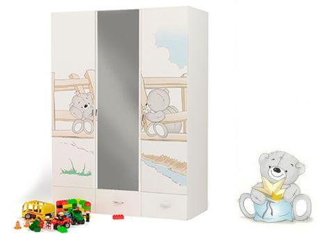 Трёхдверный шкаф с зеркалом Мишки Адвеста