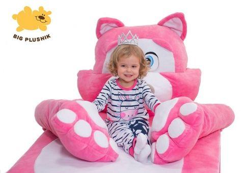 Кровать-игрушка Котенок Биг Плюшик розовый с ящиком