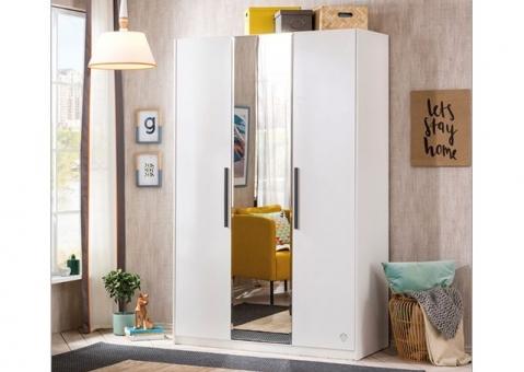 Трехдверный шкаф Black и White Cilek с зеркалом Арт.1002