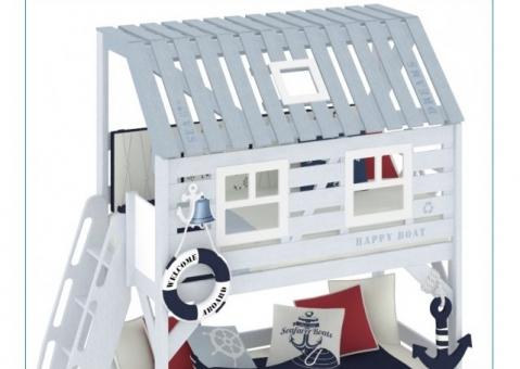 Двухъярусная кровать домик Белый Кит Клеверум