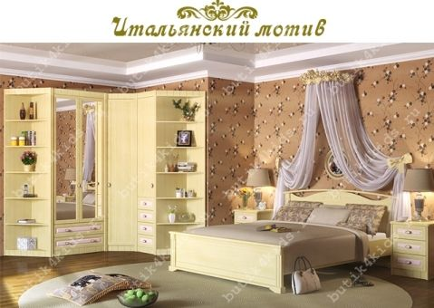 Шкаф двухдверный  с ящиками Итальянский мотив Гармония (зеркало)