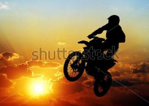 Фотообои Мотоциклист на закате