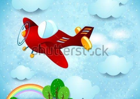 Фотообои детские Красный самолет
