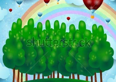 Фотообои детские Воздушные шары над лесом