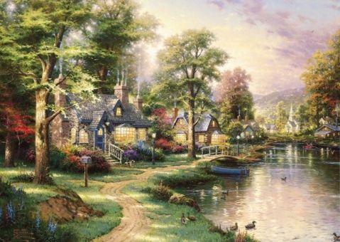 Фотообои-картина Деревня у реки
