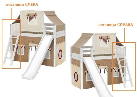 Кровать-чердак игровая с горкой Капитан