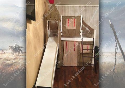 Кровать-чердак игровая с горкой Рыцарь