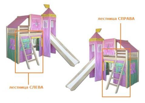 Кровать-чердак игровая с горкой Рыцарь 2
