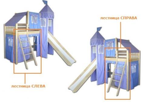 Кровать-чердак игровая с горкой Рыцарь 4