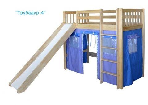 Кровать-чердак игровая с горкой Трубадур