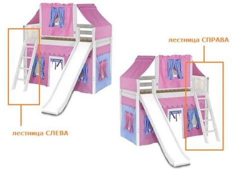 Кровать-чердак игровая с горкой Василиса