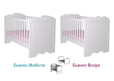 Кроватка 140х70 Бьянко Мобиле, Бьянко Фиоре