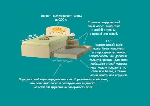 Ящик подкроватный выдвижной 190см, 160см