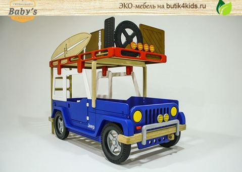Двухъярусная кровать-машина джип Wrangler Baby's Garage