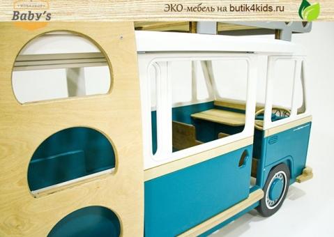 ЭКО кровать-машина для двоих детей Camper Two Baby's Garage в виде автобуса