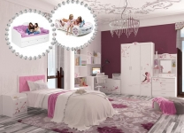 Кровать Фея с мягким изголовьем со стразами