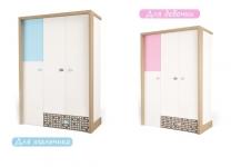 Шкаф трехдверный MIX ABC-King розовый и голубой