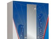 Трёхдверный шкаф с зеркалом Человек-паук (Spider Man)