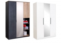 Трехдверный шкаф Black и White Cilek с зеркалом арт. 1002