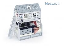Двухъярусная кровать домик Белый Кит