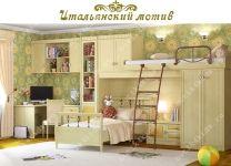 Кровать-чердак Итальянский мотив Гармония со встроенным шкафом