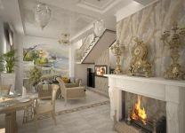Дизайн: Гостиная-кухня с камином