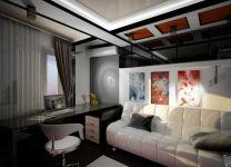 Дизайн: Кабинет-гостевая Оранжевый квадрат