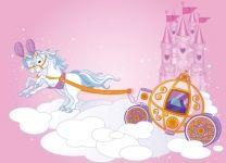 Фотообои Карета принцессы с лошадками