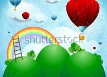 Фотообои детские Воздушные шары и радуга