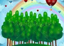 Фотообои детские Воздушные шары над лесо...