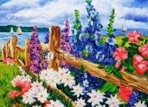 Фотообои-картина маслом Цветы