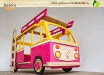 ЭКО кровать автобус Camper Оne Baby's Garage с сиденьями и рулём