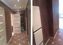 Ремонт коридора с отделкой цвета натурального дерева