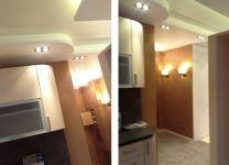 Ремонт кухни: потолок с подсветкой, цвета оранж+серый